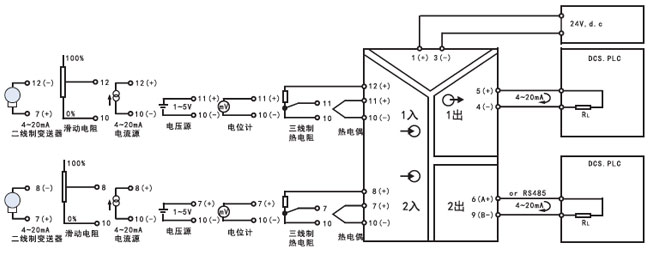 1%fs 绝缘电阻 输入输出和电源之间,100mΩ(dc500v) 负载电阻 250~750