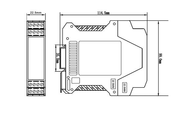 ZR4000模拟量输入隔离模块外形尺寸图