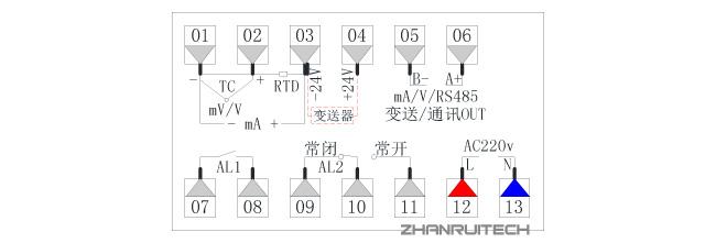 ZR-D803数字显示控制仪接线图