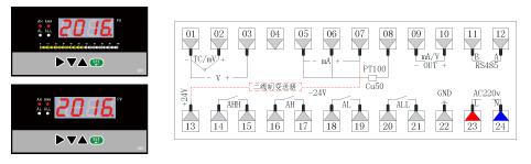 ZR-C803/TC803单光柱数显表接线图