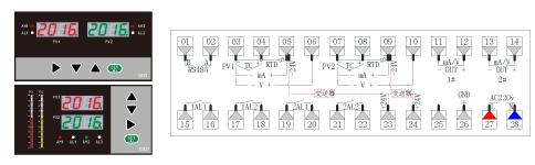 ZR-D823/TD823双光柱数显表接图