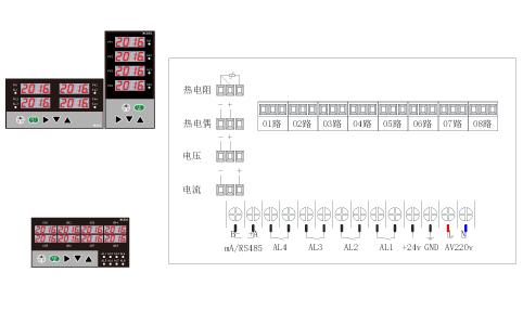 ZR-MK80多通道数显表接线图